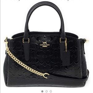 COACH F31486 Embossed Patent Leather Sage Satchel